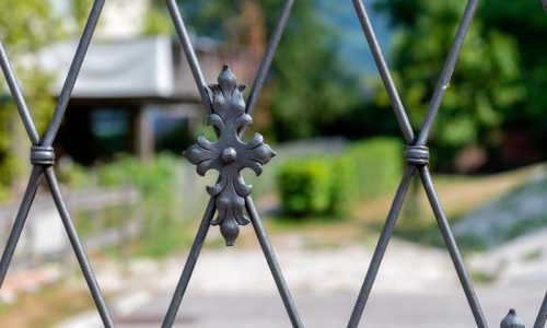 Decorative metal fence, behind which the house and the garden are visible blurred.